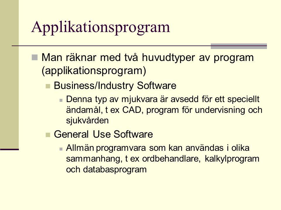 Applikationsprogram Man kan även dela in programtyperna i lokala program och nätverksprogram Lokala program Ligger lagrade på den lokala disken och är endast avsedda för den lokala datorn Nätverksprogram Ligger oftast lagrad på en server och är avsedda för flera datorer som kan nå programvaran via ett nätverk, t ex Internet