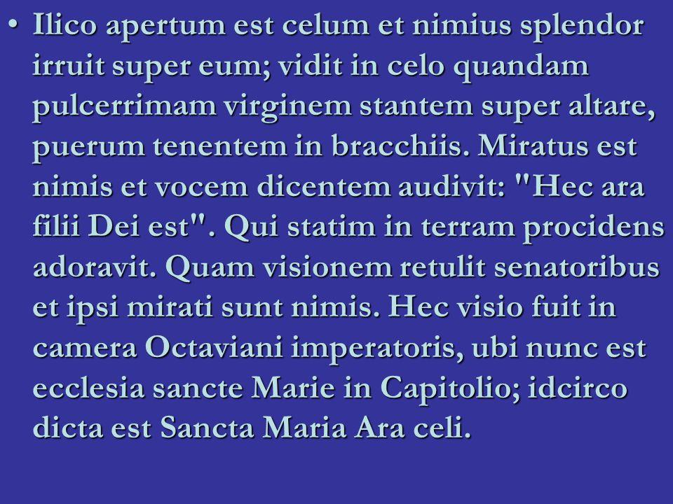 Santa Maria in Aracoeli Ara coeli = himmelens altareAra coeli = himmelens altare På Capitolium: templet av Iuno Moneta in antikenPå Capitolium: templet av Iuno Moneta in antiken Grekiskt kloster 600-t.Grekiskt kloster 600-t.