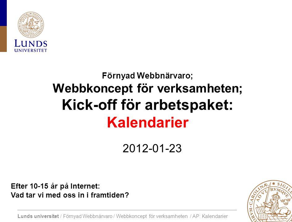 Lunds universitet / Förnyad Webbnärvaro / Webbkoncept för verksamheten / AP: Kalendarier Central webbplats Framtida utveckling av extern webbnärvaro Projektslut Dec 2012.