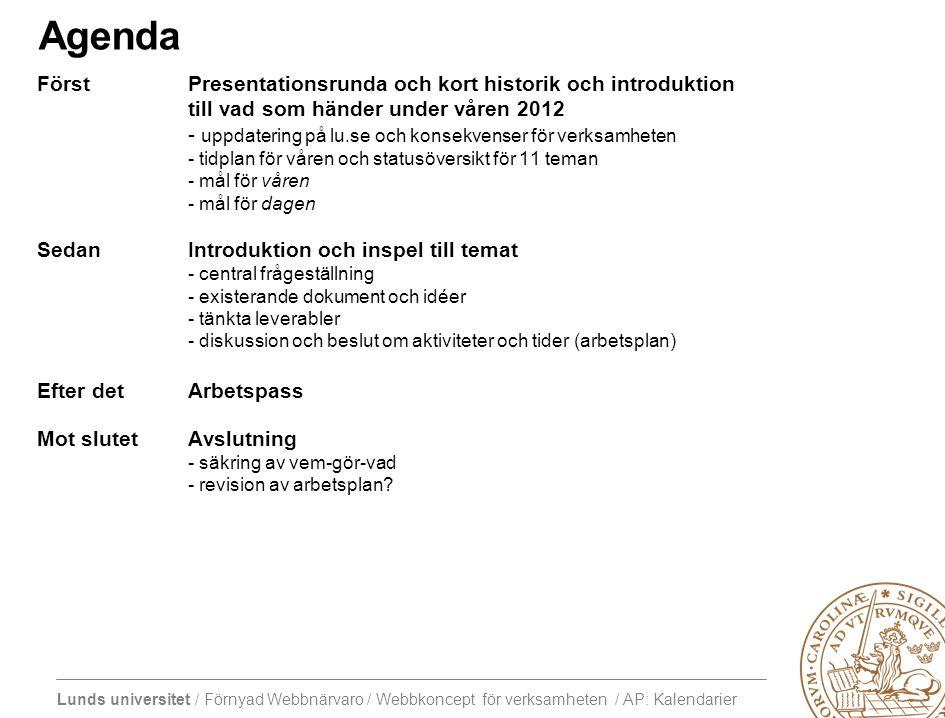 Lunds universitet / Förnyad Webbnärvaro / Webbkoncept för verksamheten / AP: Kalendarier I MB M K lu.se WKFV I F I I F I Interna sidor webbplatser i o.o.i.s lu.selu.se levereras med ny design på ny plattform bemannad up'n running försommaren 2012 Några organisationer kan i mån av egna resurser flytta in i början på Q3 Interna sidor ligger kvar i o.o.i.s i väntan på internwebb B P F KC RI I M B K Permanent gemensam organisation för förvaltning av flera intresseområden, utveckling och support från 2013 Gemensam design erbjuds till webbplatser utanför ny plattform B P F KC RI I MB K Organisationer och verksamheter med mer komplexa behov flyttar in från o.o.i.s och andra plattformar efterhand som ny funktionalitet finansierats och utvecklats Interimorganisation för förvaltning och support under 2012 Fakultet Institution Publik verksamhet Bibliotek Centrumbildning Konferens etc.…