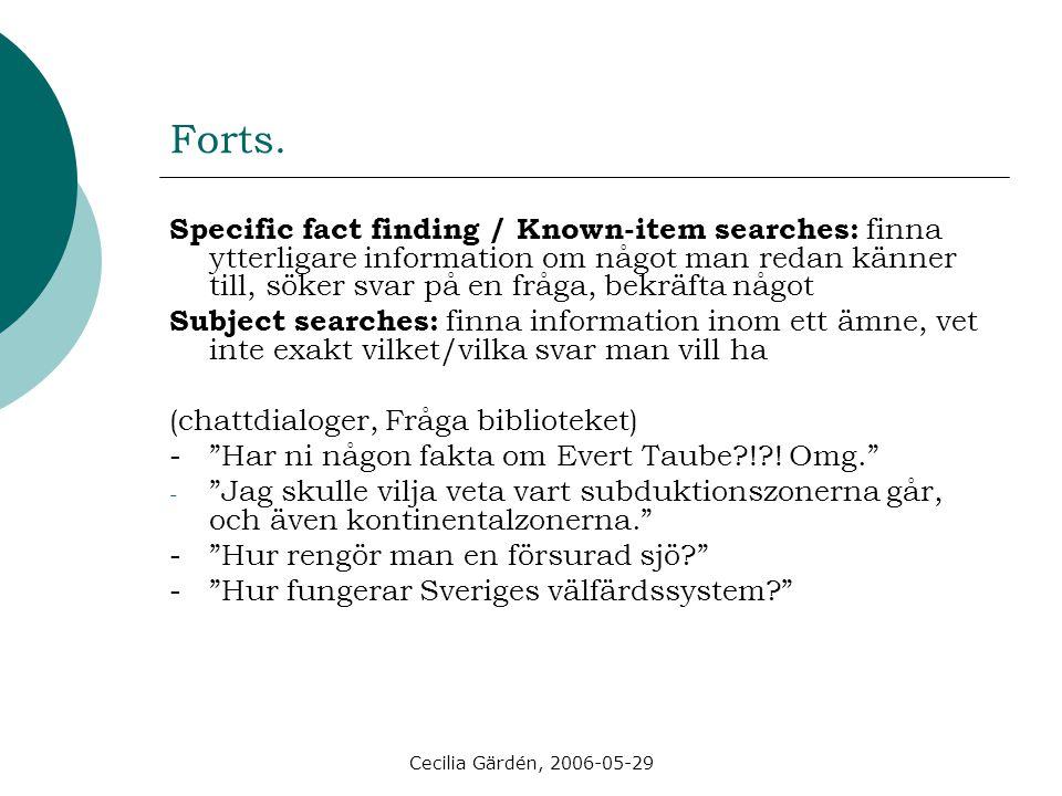 Cecilia Gärdén, 2006-05-29 Exempel A: användare / B: bibliotekarie B: Hej XXX.