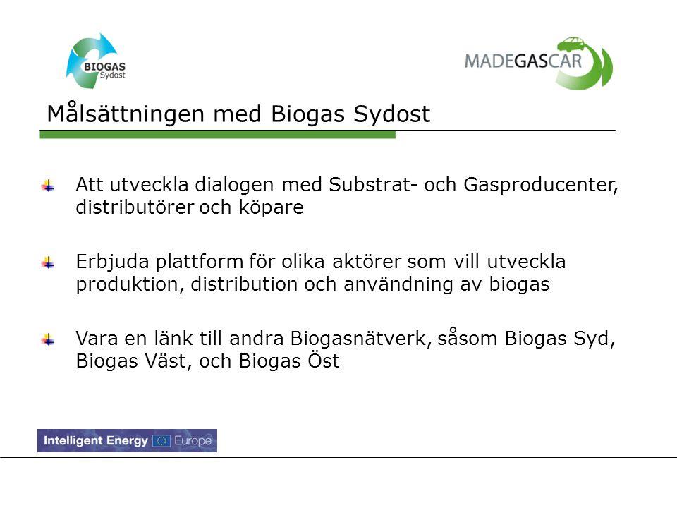Vi stödjer Biogas Sydost E.ON LRF Kalmar Biogas Läckeby Water Karlskrona Kommun Växjö Kommun Gotlands Kommun Regionförbundet i Kalmar Energikontor Sydost AB