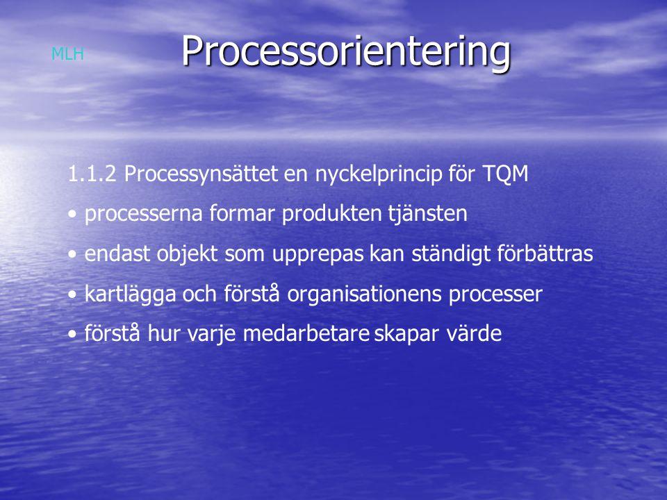 Processorientering 1.1.3 Praktiska erfarenheter Relatera enskilda processer till deras övergripande kärnprocesser Förbättringsinsatser baserade på ett kärnprocessorienterat angrepssätt MLH