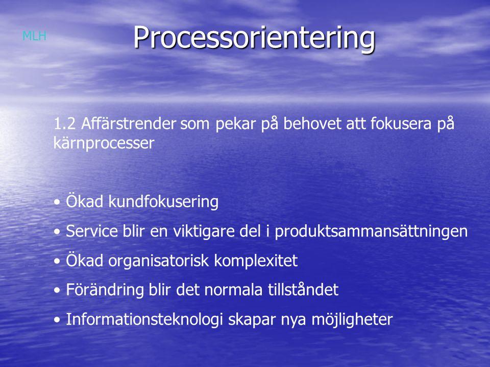 Processorientering Grupparbete 1:- diskutera och ge exempel på Ökad kundfokusering Service blir en viktigare del i produktsammansättningen Ökad organisatorisk komplexitet Förändring blir det normala tillståndet Informationsteknologi skapar nya möjligheter MLH