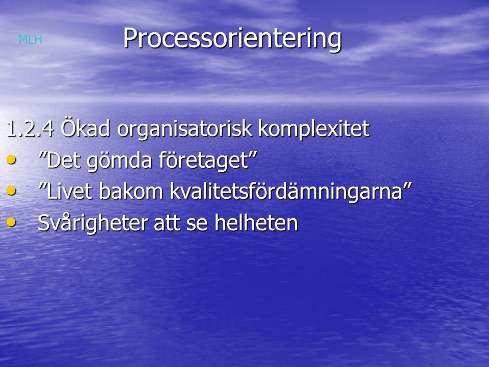 Processorientering Processorientering 1.2.5 Informationsteknologi öppnar nya möjligheter Gammal regelNy regel Information kann endast förekomma på en plats i taget Information kann samtidigt förekomma på så många ställen som det behövs Endast experter kann utföra komplexa arbeten En amatör kann utföra en experts arbete Näringslivet måste välja mellan centralisering och decentralisering Näringslivet kan samtidigt dra fördelar av både centralisering och decentralisering Ledningen tar alla beslut Belutsfattande ingår i var medarbetares arbetsuppgifter Personal på fältet behöver kontor där de kan ta emot,hämta och sända information Personal på fältet kann sända och ta emot information var de än är Den bästa kontakten med potentiella köpare är personligt besök Den bästa kontakten med en potentiell köpare är effektiv kontakt Planer granskas periodvisPlaner granskas omedelbart MLH