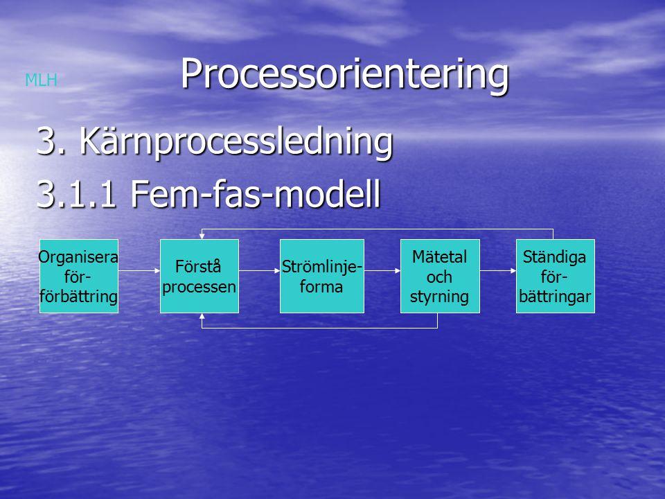 Processorientering Processorientering 3.1.3 Nyckelområden för framgångsrik kärn- processledning Skapa en gemensam vision för vad organisationen vill åstadkomma med processarbetet Skapa en gemensam vision för vad organisationen vill åstadkomma med processarbetet Definera organisationens kärnprocesser Definera organisationens kärnprocesser Organisera för processledning Organisera för processledning Skapa nödvändig förståelse för processerna Skapa nödvändig förståelse för processerna Anaysera, förbättra och redesigna processer Anaysera, förbättra och redesigna processer Få processynsättet att genomsyra hela organisationen Få processynsättet att genomsyra hela organisationen MLH