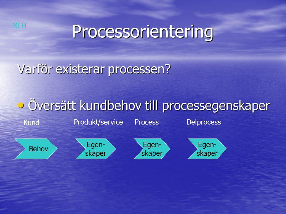 Processorientering Processorientering Hur fungerar processen Skapa en helhetsbild av processen Skapa en helhetsbild av processen Leveran- tör Kund MLH