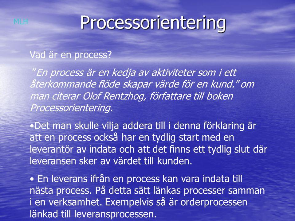 Processorientering Värde = Kvalitet x Service Kostnad xTid MLH