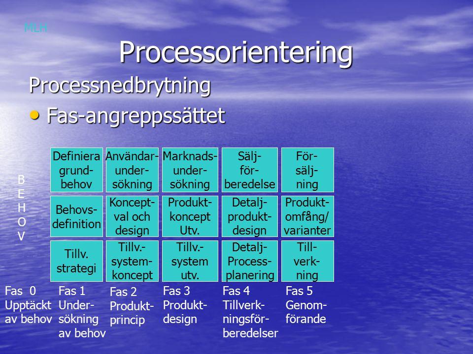Processorientering Processorientering Processnedbrytning Horisontella angreppssättet Horisontella angreppssättet Kunder Löpande order Specialorder Tester Standardorder Kunder MLH