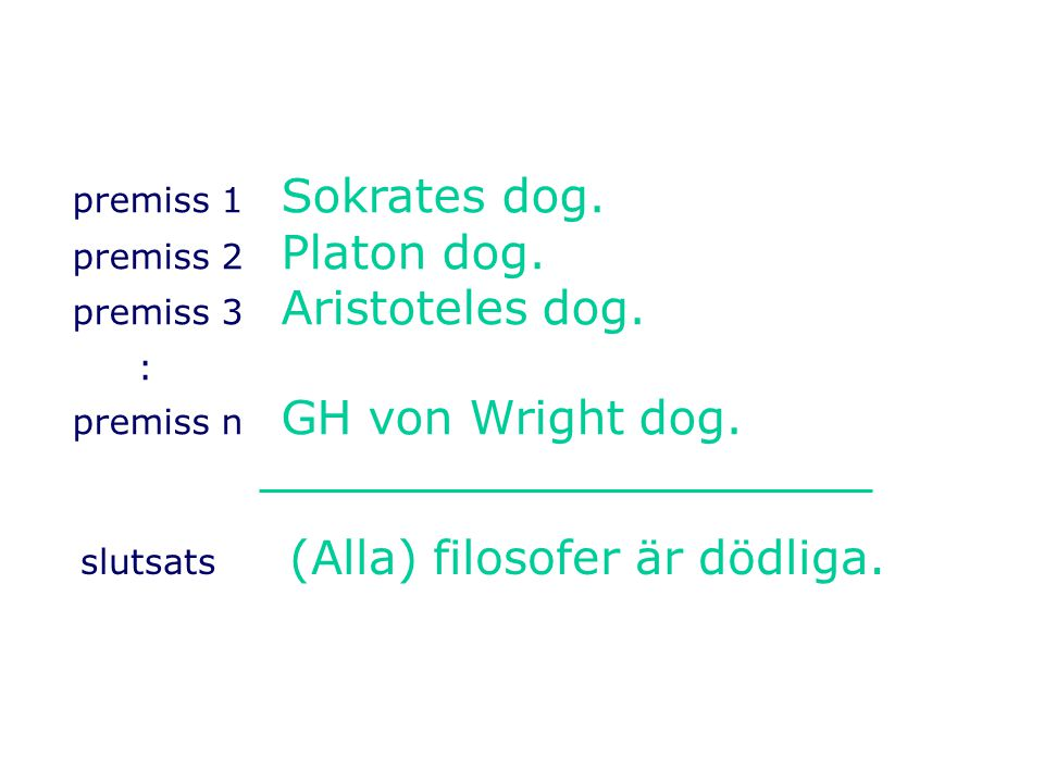 premiss 1 Sokrates dog.premiss 2 Platon dog. premiss 3 Aristoteles dog.