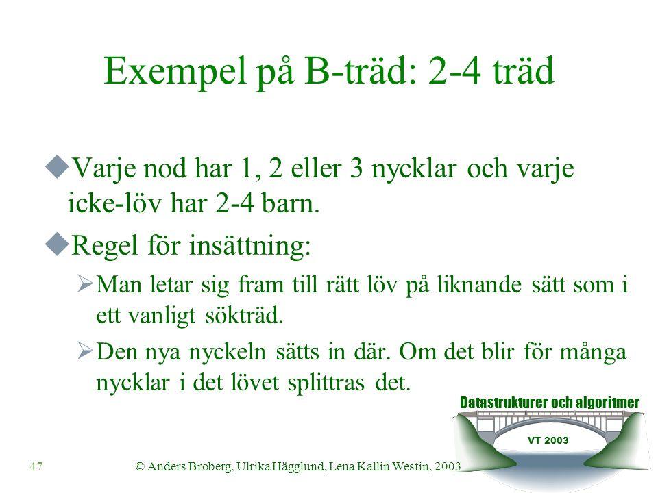 Datastrukturer och algoritmer VT 2003 48© Anders Broberg, Ulrika Hägglund, Lena Kallin Westin, 2003 Exempel på B-träd: 2-4 träd  Regel för borttagning:  Man letar sig fram till rätt löv på liknande sätt som i ett vanligt sökträd.