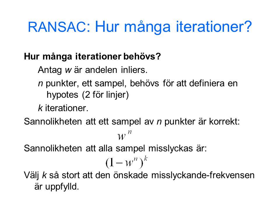RANSAC: Beräknat k ( p = 0.99 ) Sampel storlek Andelen outliers N 5%10%20%25%30%40%50% 2235671117 33479111935 435913173472 54612172657146 64716243797293 748203354163588 8592644782721177 från Hartley & Zisserman