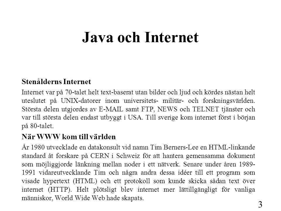 4 Java och Internet, forts.