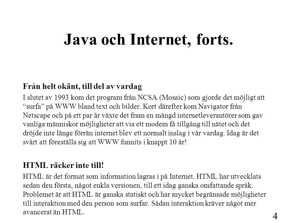 5 Java och Internet, forts.