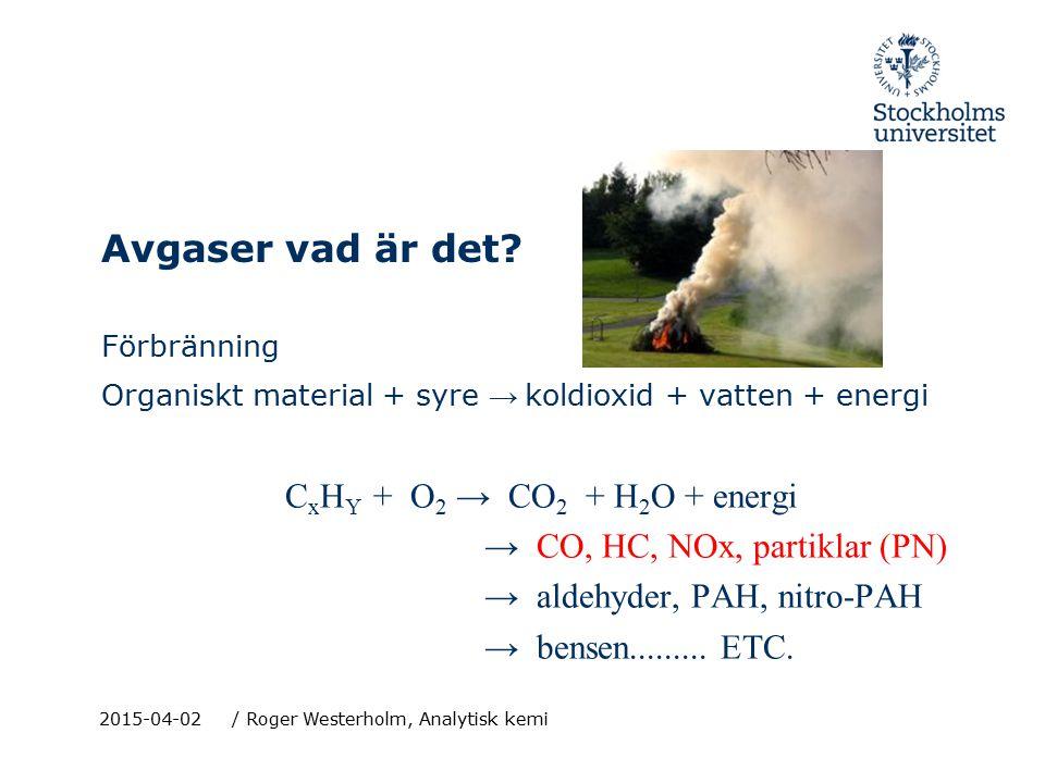 2015-04-02/ Roger Westerholm, Analytisk kemi Emissionsnivåer (storleksordning) CO 2, ~ kg/km H 2 O, ~ kg/km CO, ~ g/km NOx, ~ g/km HC, ~ 0.1 g/km Partiklar, ~ mg/km Aldehyder, ~ mg/km PAH, ~ ug/km nitro-PAH, ~ 0.1 ug/km ~ 99.5%.