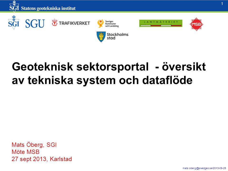 2 mats.oberg@swedgeo.se/2013-09-25 2 Jordartgeologi och topografi/geometri (lutning) är två viktiga parametrar för att bedöma förutsättningar för skred.