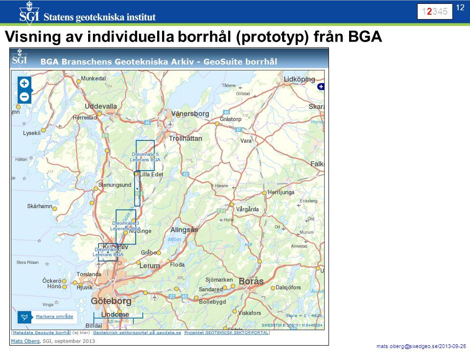 13 mats.oberg@swedgeo.se/2013-09-25 13 Visning av individuella borrhål (prototyp) från BGA 12345