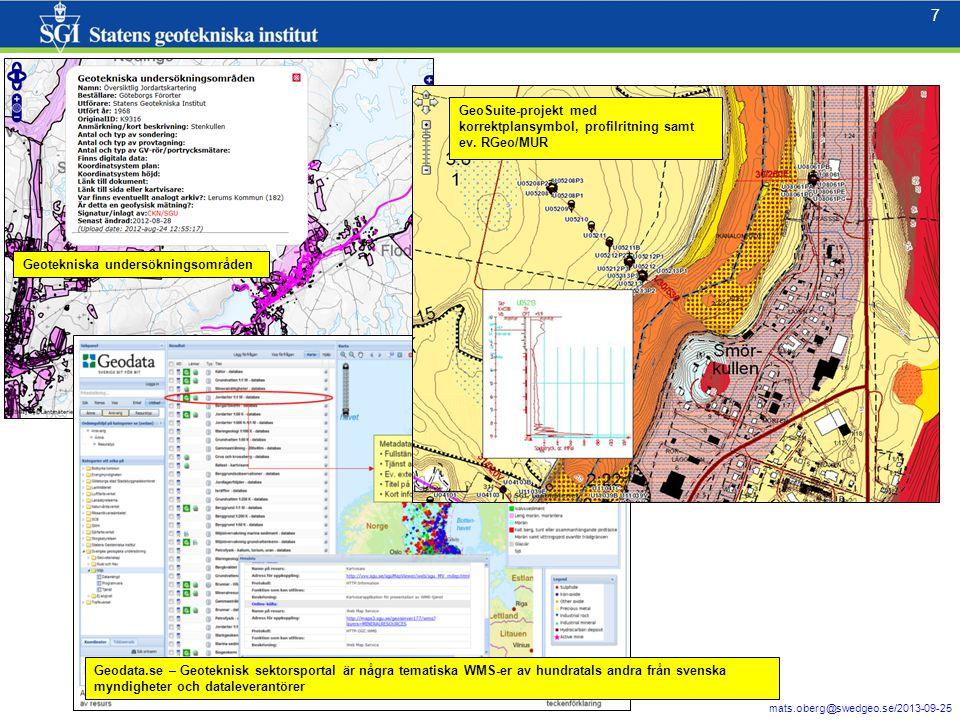 8 mats.oberg@swedgeo.se/2013-09-25 8 Registering av geotekniska undersökningsområden 12345
