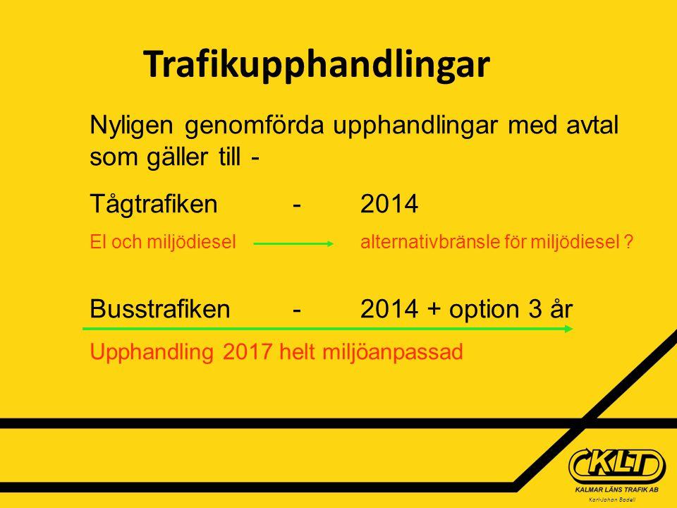 Karl-Johan Bodell Miljöutfall vid avtalstecknande Miljödiesel används i 47% av trafiken RME används i 42% av trafiken Biogas används i 11% av trafiken