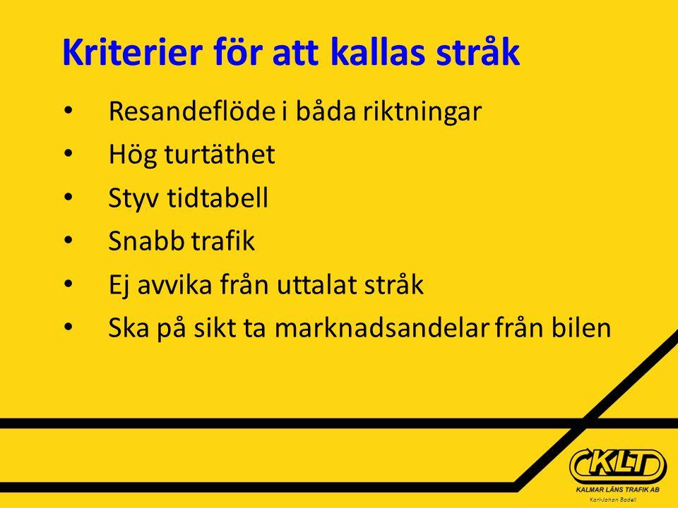 Karl-Johan Bodell Viktiga satsningar för att stråktrafiken ska lyckas i Kalmar län  Motorvägshållplatser (omstigningsplatser) - Söderåkra - Ålem - Mönsterås - Påskallavik - Ankarsrum - Storebro - Träffpunkt Öland - Algutsrum