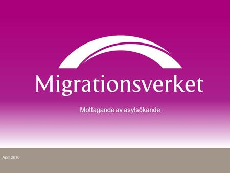 Mottagande av asylsökande April 2016. Flyktingsituationen idag.