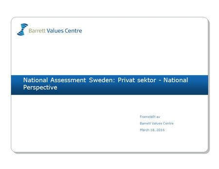 National Assessment Sweden: Privat sektor - National Perspective Framställt av Barrett Values Centre March 18, 2016.