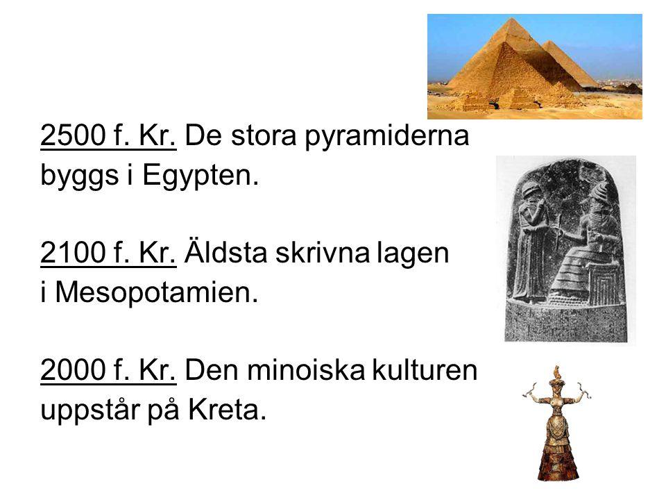 1800 f.Kr. Människan lär sig att smälta järn. 1000 f.