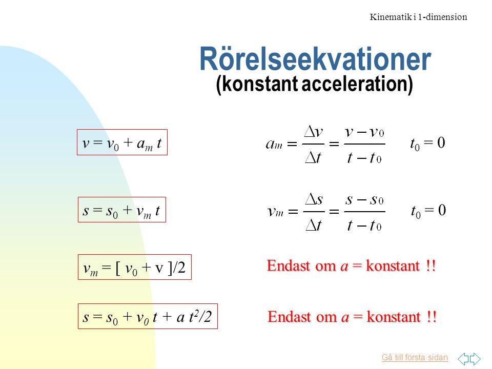 Gå till första sidan Fritt fall Kinematik i 1-dimension Exempel En sten kastas rakt upp med initialhastighet v=10 m/s Hur långt upp kommer den, och hur länge stannar den totalt i luften.