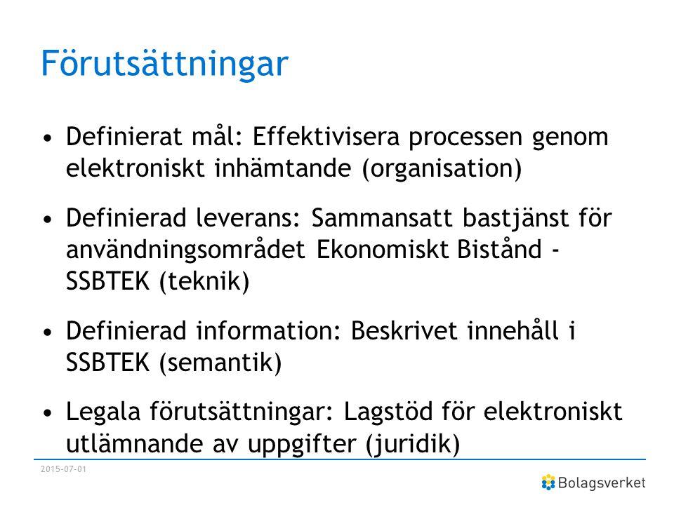 Framgångsfaktorer i utvecklingen av SSBTEK Utnyttjande av framförallt konceptet kring Digital samverkan Återanvändning av standards, koncept och principer Central finansiering En utpekad färdledare En utpekad målgrupp/användare Förtroendefullt samarbete / tillit (E-delegationen bidrag) 2015-07-01