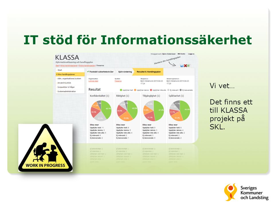 IT stöd för Informationssäkerhet Björn Söderlund It-strateg/ CIO Lidingö stad bjorn.soderlund@lidingo.se www.lidingo.se Twitter: @bjorn_lidingo Styra Stötta Starta 1.Infosäk 2.eArkiv 3.eHälsa 4.eBlomlåda 5.LIKA 6.eTjänsteutveckling 7.Öppna Data 8.… 9.Chomebooks 10.… 11.…enkäter…