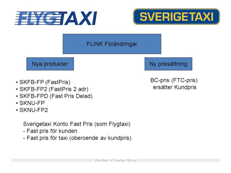 Kundpriser i TPSS-avtalet Fasta priser som beräknas på två olika sätt: -Fasta priser för egen bil till och från ett antal orter och en viss flygplats (=lägre än dagens Egen bil för Flygtaxi) -Viss taxa för upphämtning i viss kommun.