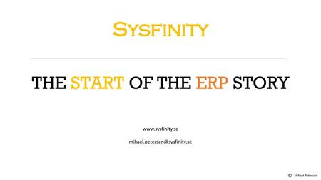 THE START OF THE ERP STORY