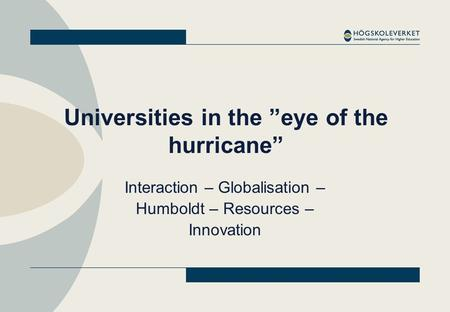 "Universities in the ""eye of the hurricane"" Interaction – Globalisation – Humboldt – Resources – Innovation."