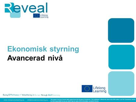 Ekonomisk styrning Avancerad nivå This project has been funded with support from the European Commission. This publication reflects the views only of the.