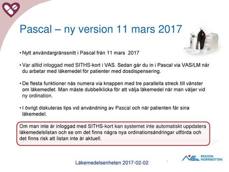 Pascal – ny version 11 mars 2017