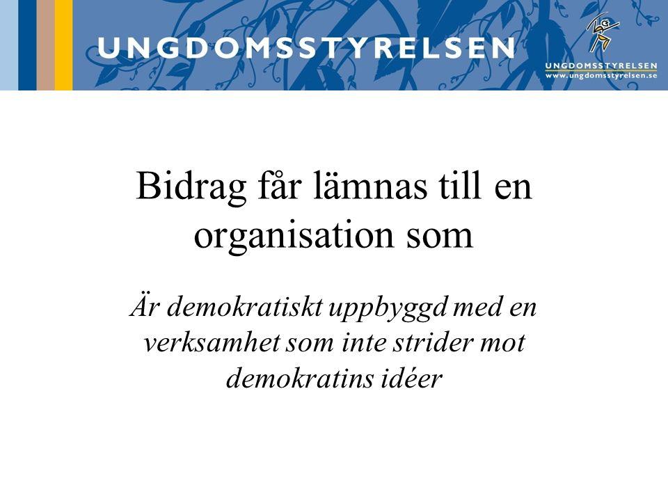 Demokratiskt uppbyggd Organisationsstruktur (stadgar, styrelse, krav på olika nivåer – central/lokal) Beslutsprocesser (en röst per medlem, majoritetsbeslut, likabehandlingsprincipen, påverka beslut om verksamheten & ekonomi) Medlemskapet (öppet, frivilligt,)