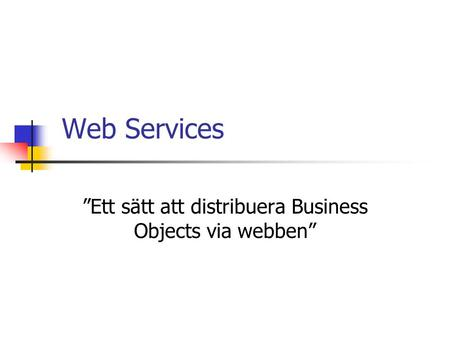 "Web Services ""Ett sätt att distribuera Business Objects via webben"""