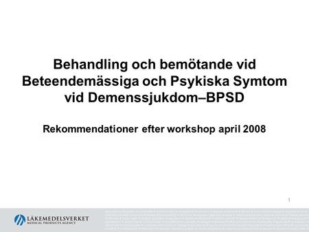 Rekommendationer efter workshop april 2008