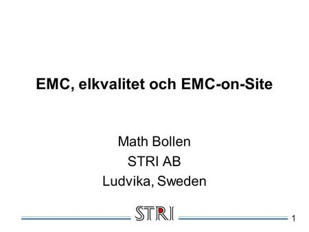 EMC, elkvalitet och EMC-on-Site