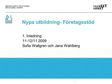 SWEDISH AGENCY FOR ECONOMIC AND REGIONAL GROWTH 1 1. Inledning 11-12/11 2009 Sofia Wallgren och Jana Wahlberg Nyps utbildning- Företagsstöd.