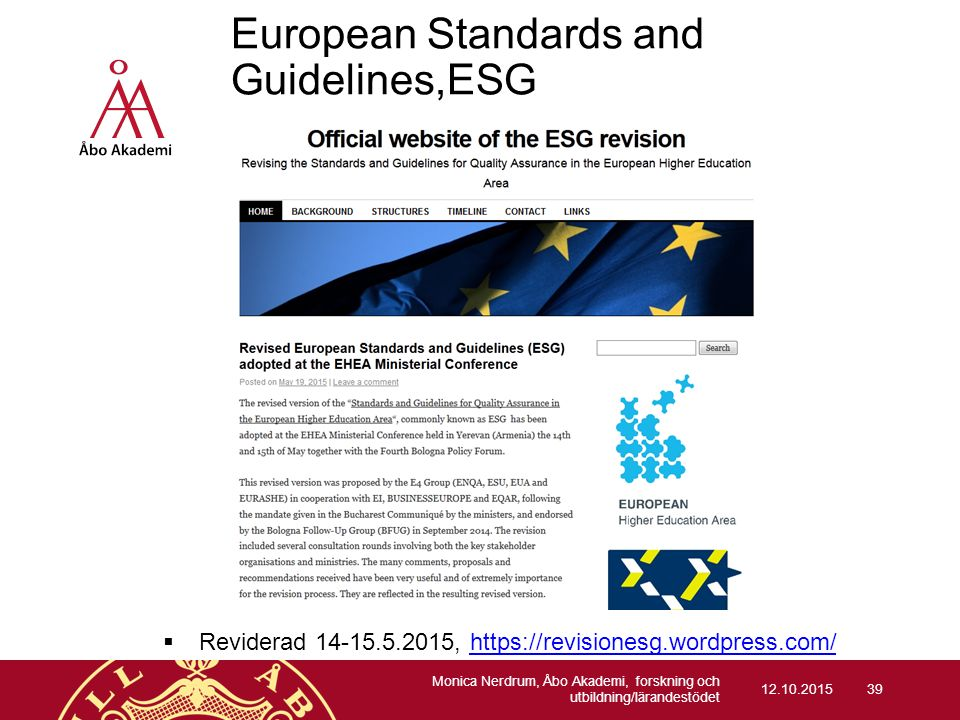 European Standards and Guidelines,ESG (sid.