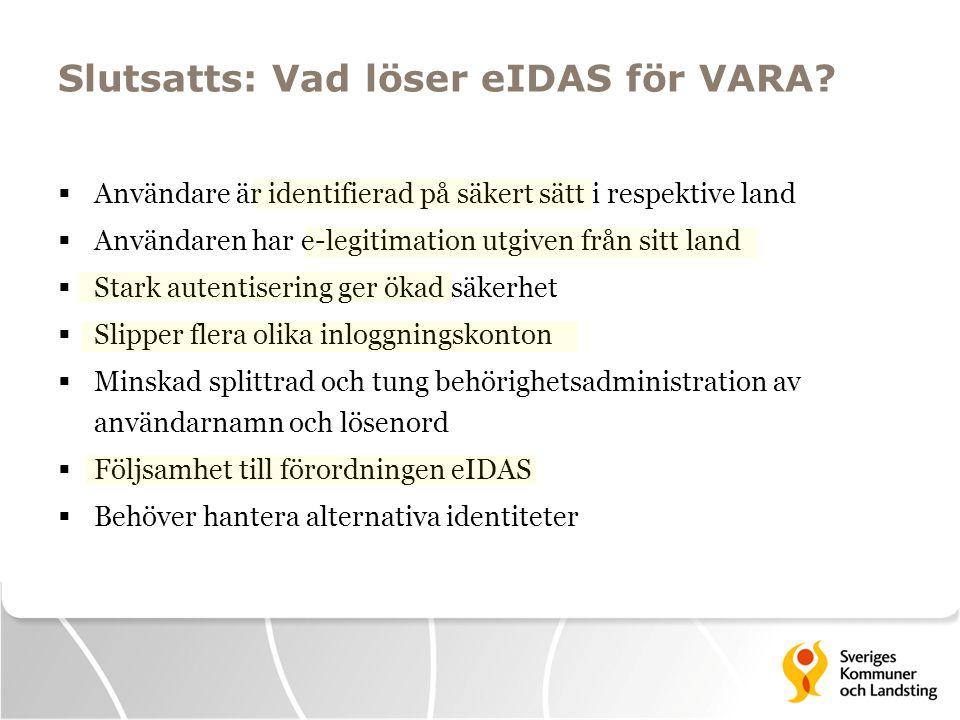 Konceptuellt VARA i eIDAS VARA E-leg XAutentisering Sverige Land X Attribut Anvisnings tjänst EU Behörighet Svensk NOD Nationell NOD