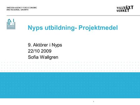 SWEDISH AGENCY FOR ECONOMIC AND REGIONAL GROWTH 1 9. Aktörer i Nyps 22/10 2009 Sofia Wallgren Nyps utbildning- Projektmedel.