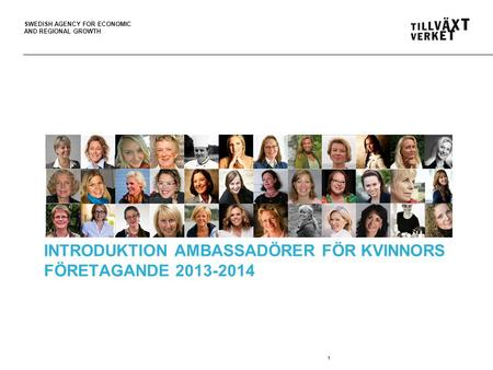 SWEDISH AGENCY FOR ECONOMIC AND REGIONAL GROWTH 1 INTRODUKTION AMBASSADÖRER FÖR KVINNORS FÖRETAGANDE 2013-2014.