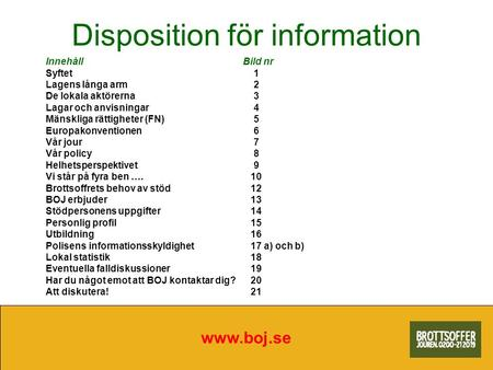 Disposition för information