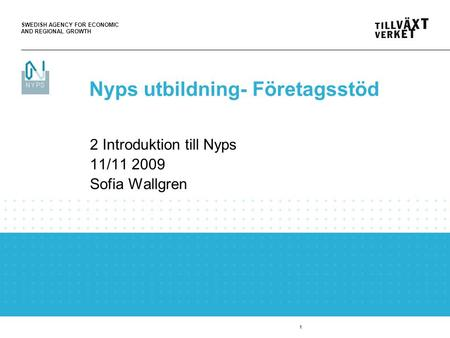 SWEDISH AGENCY FOR ECONOMIC AND REGIONAL GROWTH 1 2 Introduktion till Nyps 11/11 2009 Sofia Wallgren Nyps utbildning- Företagsstöd.
