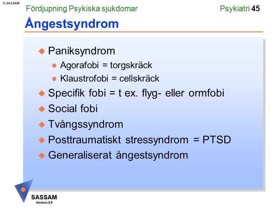 Ångestsyndrom Paniksyndrom Specifik fobi = t ex. flyg- eller ormfobi