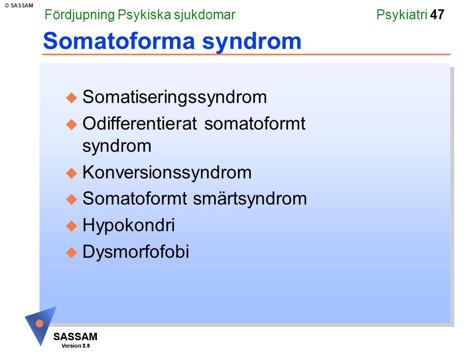 Somatoforma syndrom Somatiseringssyndrom