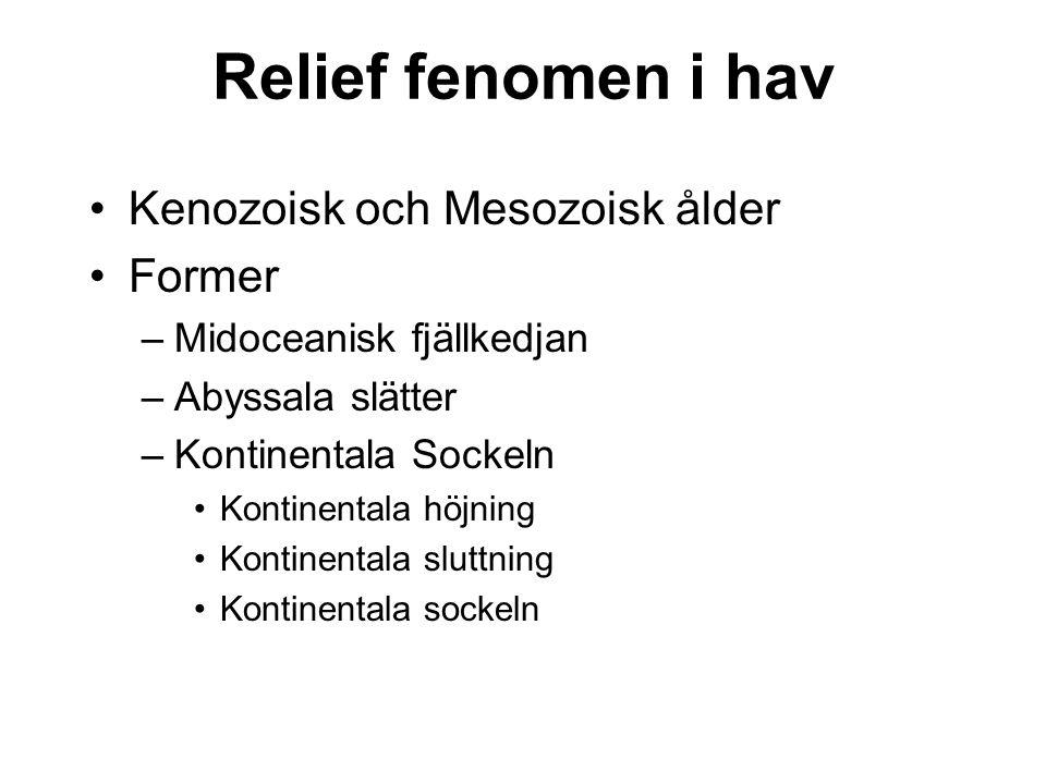 Relief fenomen i hav Kenozoisk och Mesozoisk ålder Former