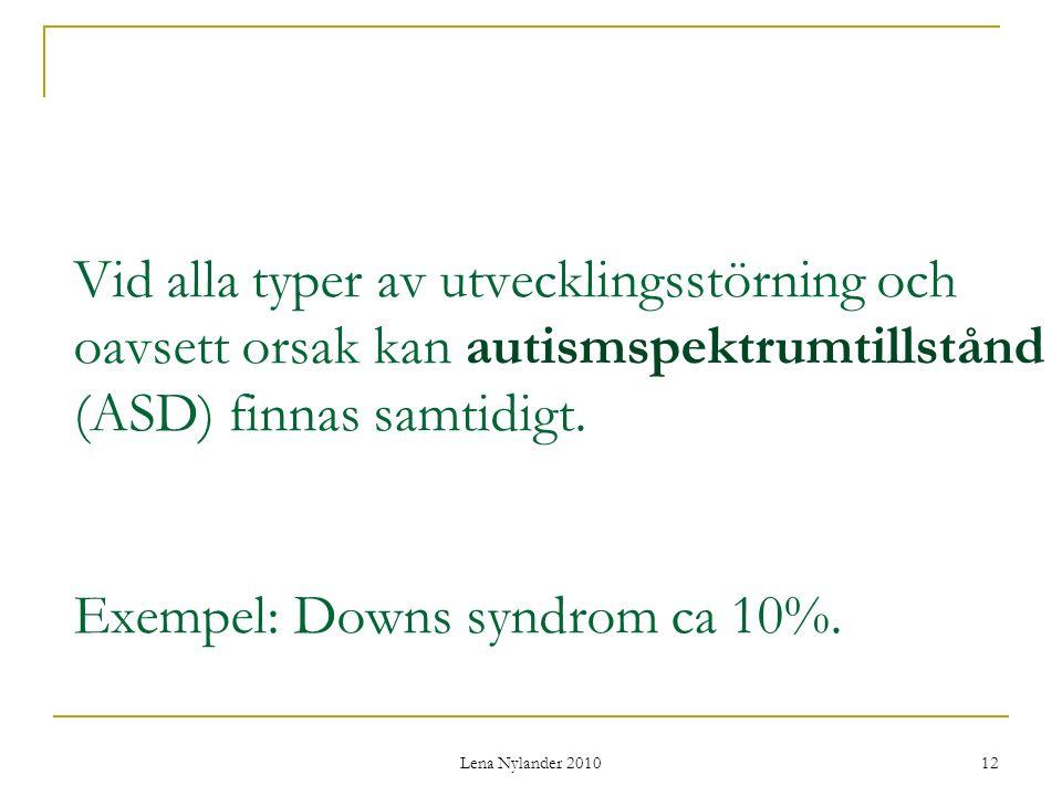 Vid alla typer av utvecklingsstörning och oavsett orsak kan autismspektrumtillstånd (ASD) finnas samtidigt. Exempel: Downs syndrom ca 10%.